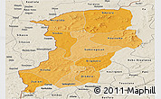 Political Shades Panoramic Map of Kenedougou, shaded relief outside