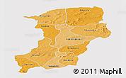 Political Shades Panoramic Map of Kenedougou, single color outside