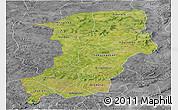 Satellite Panoramic Map of Kenedougou, desaturated