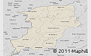 Shaded Relief Panoramic Map of Kenedougou, desaturated