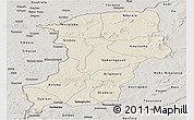 Shaded Relief Panoramic Map of Kenedougou, semi-desaturated