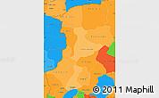 Political Shades Simple Map of Kenedougou, political outside