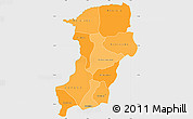 Political Shades Simple Map of Kenedougou, single color outside