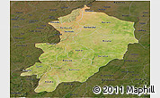 Satellite Panoramic Map of Kossi, darken