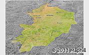 Satellite Panoramic Map of Kossi, desaturated