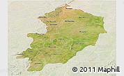 Satellite Panoramic Map of Kossi, lighten