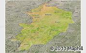 Satellite Panoramic Map of Kossi, semi-desaturated