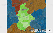 Political Shades Map of Kouritenga, darken