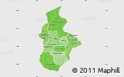 Political Shades Map of Kouritenga, single color outside