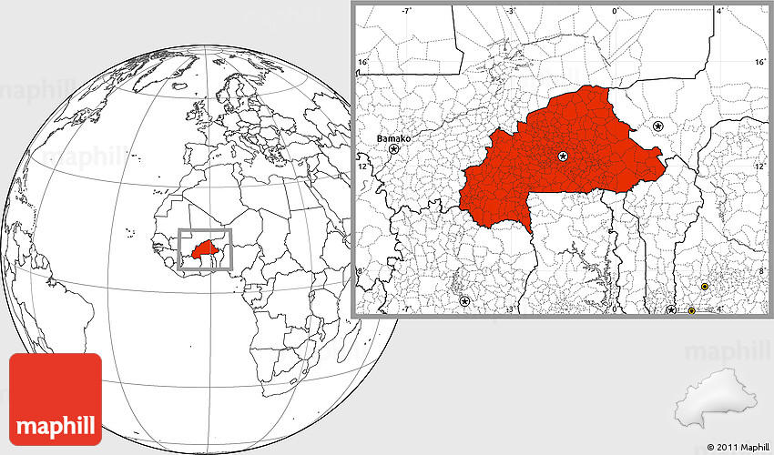 Blank Location Map of Burkina Faso