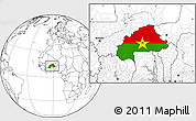 Flag Location Map of Burkina Faso, blank outside