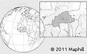Gray Location Map of Burkina Faso, blank outside