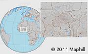 Gray Location Map of Burkina Faso, hill shading inside