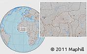 Gray Location Map of Burkina Faso, hill shading outside
