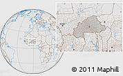 Gray Location Map of Burkina Faso, lighten, desaturated