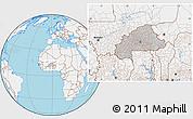 Gray Location Map of Burkina Faso, lighten, land only