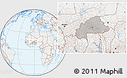 Gray Location Map of Burkina Faso, lighten