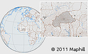 Gray Location Map of Burkina Faso, lighten, semi-desaturated