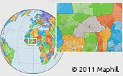 Gray Location Map of Burkina Faso, political outside