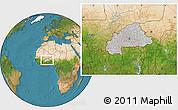 Gray Location Map of Burkina Faso, satellite outside