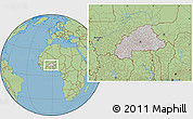 Gray Location Map of Burkina Faso, savanna style outside