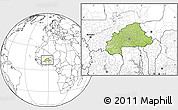 Physical Location Map of Burkina Faso, blank outside