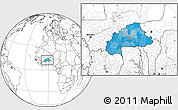 Political Location Map of Burkina Faso, blank outside