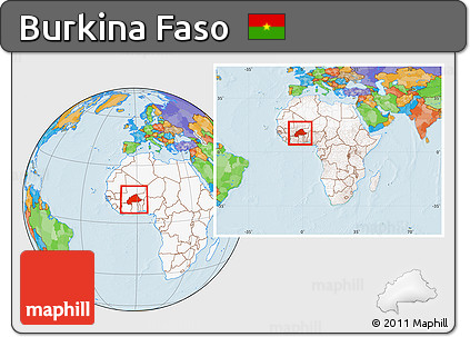 Free Political Location Map of Burkina Faso highlighted continent