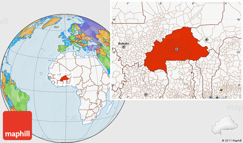 Political Location Map of Burkina Faso highlighted continent