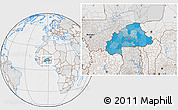 Political Location Map of Burkina Faso, lighten, desaturated