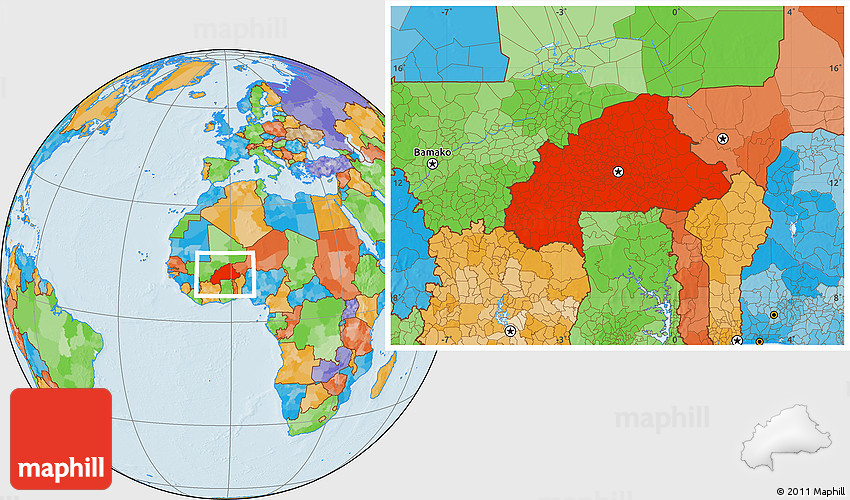 Political Location Map of Burkina Faso