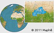 Political Location Map of Burkina Faso, satellite outside
