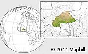 Satellite Location Map of Burkina Faso, blank outside
