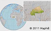 Satellite Location Map of Burkina Faso, gray outside, hill shading