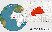 Satellite Location Map of Burkina Faso, highlighted continent