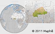 Satellite Location Map of Burkina Faso, lighten, desaturated