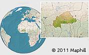 Satellite Location Map of Burkina Faso, lighten, land only