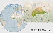Satellite Location Map of Burkina Faso, lighten