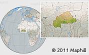 Satellite Location Map of Burkina Faso, lighten, semi-desaturated