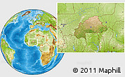 Satellite Location Map of Burkina Faso, physical outside