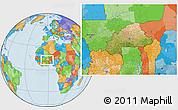 Satellite Location Map of Burkina Faso, political outside