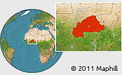 Satellite Location Map of Burkina Faso