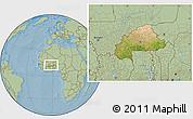 Satellite Location Map of Burkina Faso, savanna style outside, hill shading