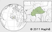 Savanna Style Location Map of Burkina Faso, blank outside