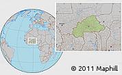 Savanna Style Location Map of Burkina Faso, gray outside