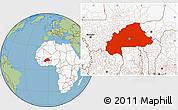 Savanna Style Location Map of Burkina Faso, highlighted continent