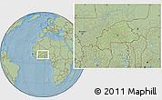 Savanna Style Location Map of Burkina Faso, hill shading outside