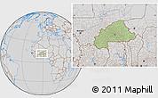 Savanna Style Location Map of Burkina Faso, lighten, desaturated