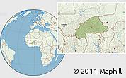 Savanna Style Location Map of Burkina Faso, lighten, land only