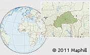 Savanna Style Location Map of Burkina Faso, lighten